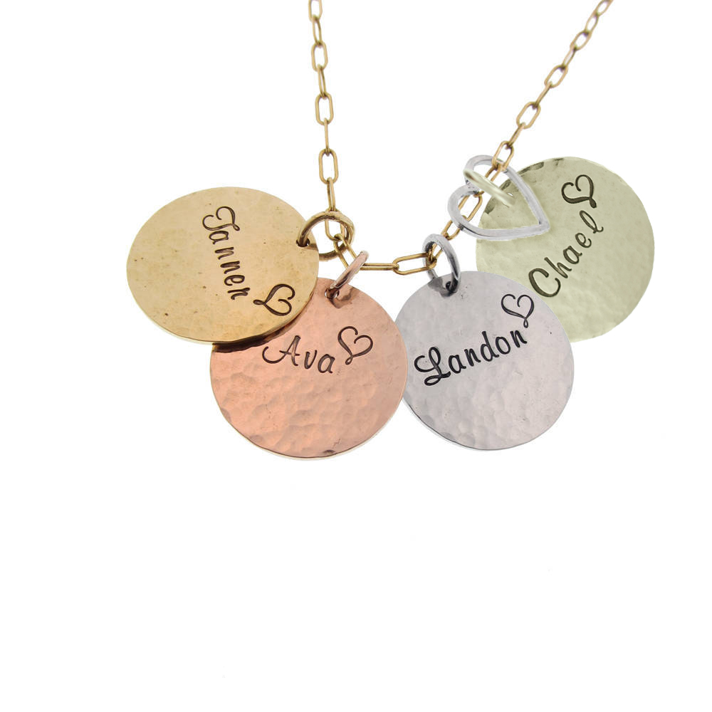 Hand Stamped Solid Gold Hammered Name Necklace