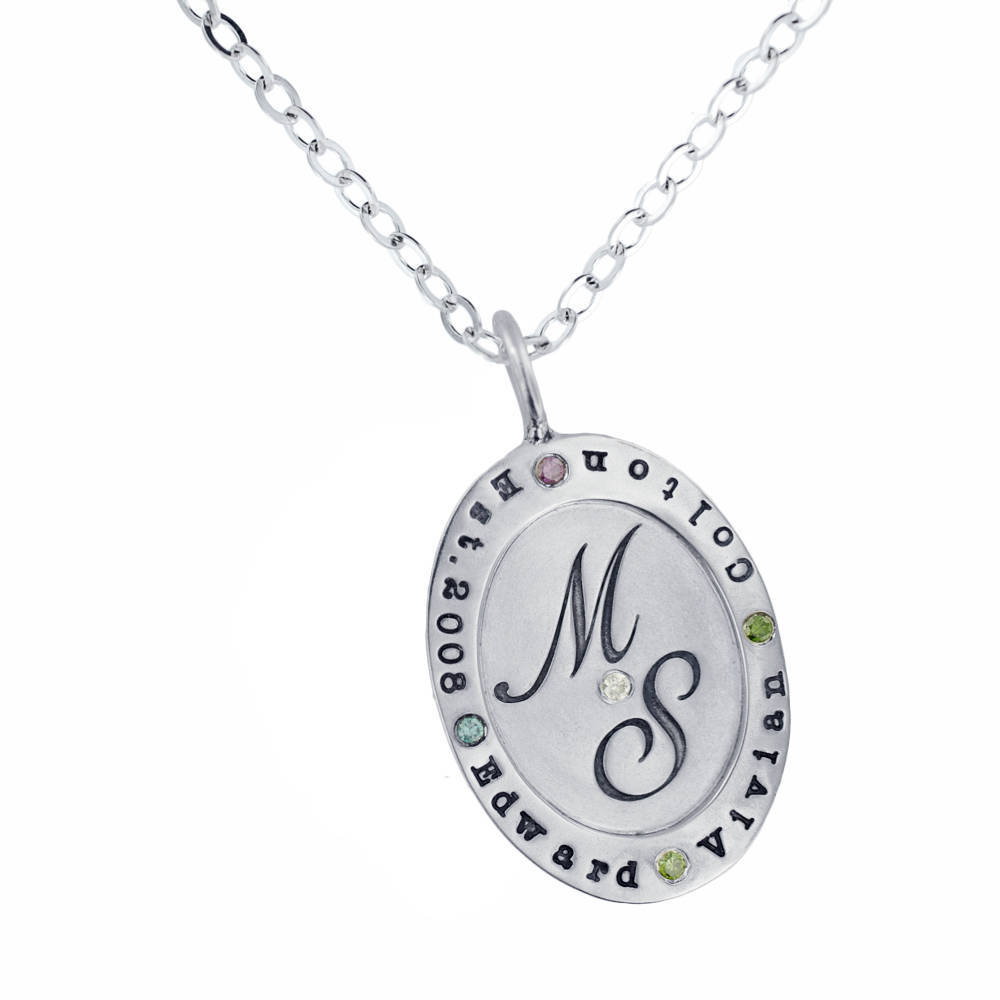 Oval Silver Mother's Charm Necklace with colored diamonds