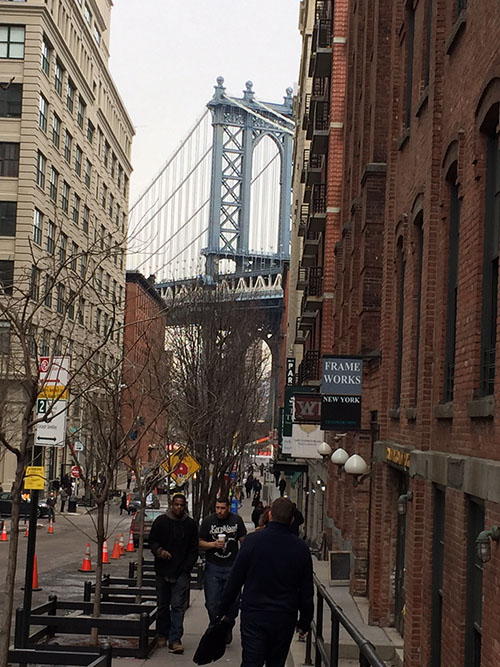 A shot of the Manhattan Bridge outside of the Etsy headquarters.