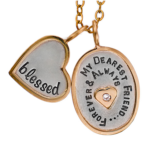 Silver and Gold Personalized Engraved Hand Stamped Mother's Day Necklace
