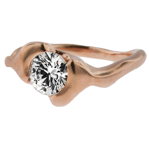 Rose Gold Engagement Ring with Solitaire Diamond Inspired From Twig